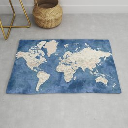 Light brown and blue watercolor detailed world map Rug