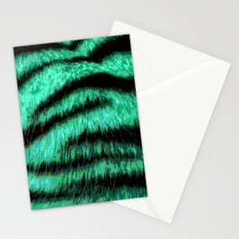 Neon green stripes Stationery Cards