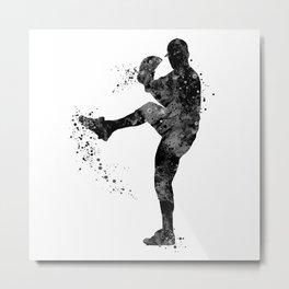 Baseball Boy Art Softball Pitcher Black and White Art Sports Gift Metal Print
