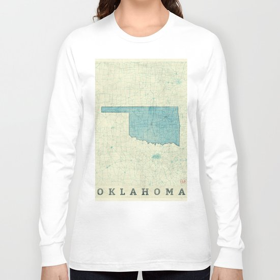 oklahoma state map blue vintage sleeve t shirt by