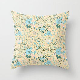 Star Sapphire Floral Celebration Aqua Throw Pillow