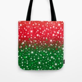 Christmas Variegated Red and Green Star Glow Tote Bag