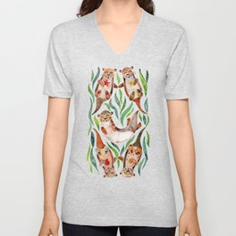 Five Otters – Green Seaweed Unisex V-Neck