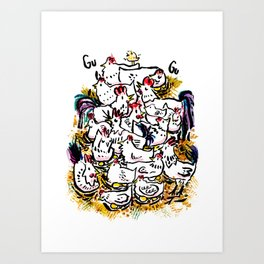 Chicken & peeps Art Print