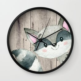 Woodland Friends - Little Racoon In Forest Wall Clock