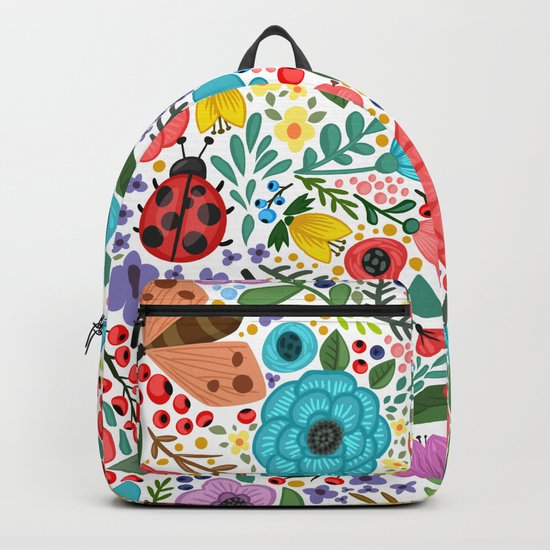 Colorful Vintage Spring Flowers Backpack