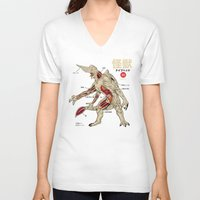 anatomy V-neck T-shirts featuring Kaiju Anatomy by MeleeNinja