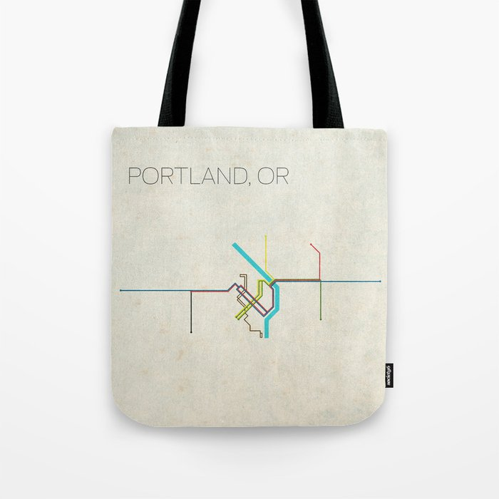 Minimal Portland, OR Metro Map Tote Bag