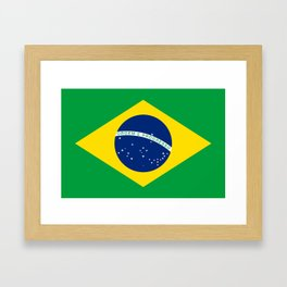 Flag of Brazil - Hi Quality Authentic version Framed Art Print