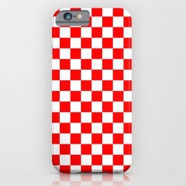 Jumbo Australian Racing Flag Red and White Checked Checkerboard Pattern iPhone Case
