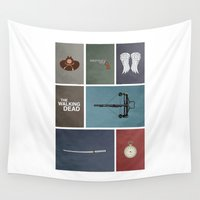 the walking dead Wall Tapestries featuring Walking Dead (colors) by avoid peril