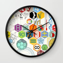 Math in color (white Background) Wall Clock