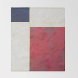 Blue, Red And White With Golden Lines Abstract Painting Throw Blanket