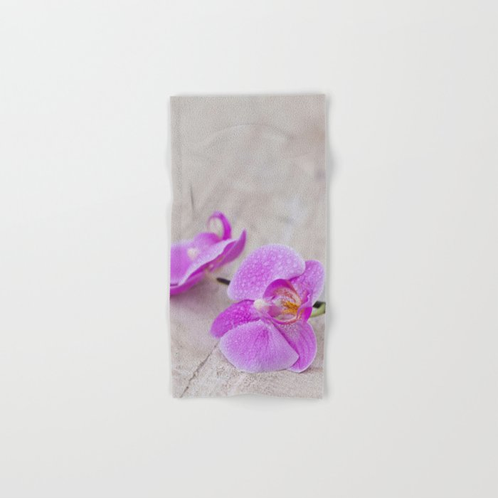 pink orchid flower close up water drops Hand & Bath Towel