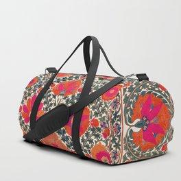 Kermina Suzani Uzbekistan Colorful Embroidery Print Duffle Bag
