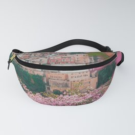 Positano, Italy Travel Photography with Pink Flowers Fanny Pack