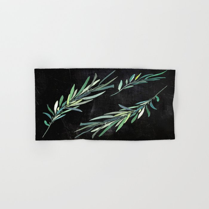 Eucalyptus leaves on chalkboard Hand & Bath Towel