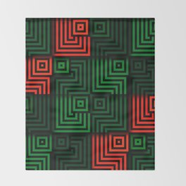 Red and green tiles with op art squares and corners Throw Blanket