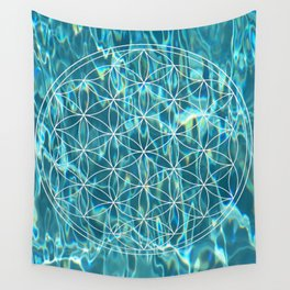Flower of life in the water Wall Tapestry