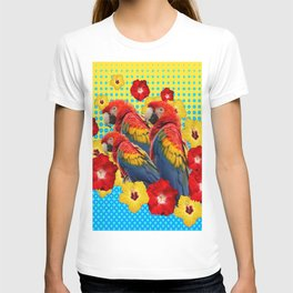 YELLOW-BLUE  FLORAL MACAWS & RED YELLOW HIBISCUS T-shirt