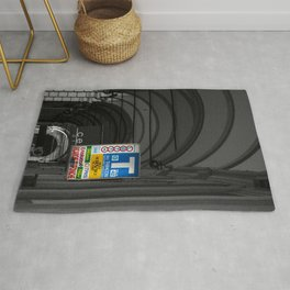 Blue Tabacchi Lotto Bologna Sign Black and White Photography Rug