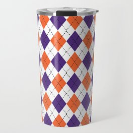 Argyle orange and purple pattern clemson football college university alumni varsity team fan Travel Mug