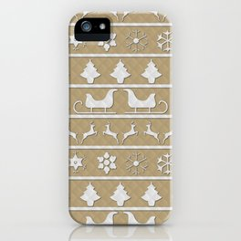 Gold & White Christmas Ugly Sweater Nordic Knit iPhone Case