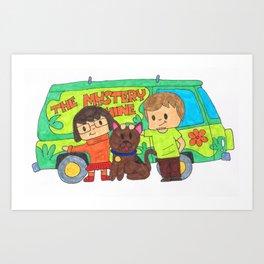 Sleuth Couple and Dog Art Print