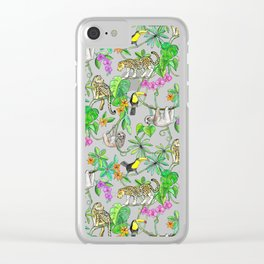 Rainforest Friends - watercolor animals on mint green Clear iPhone Case
