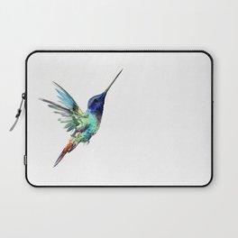 Flying Hummingbird flying bird, turquoise blue elegant bird minimalist design Laptop Sleeve