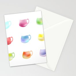 Colorful watercolor cups Stationery Cards