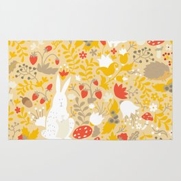 Cute animals on magic forest seamless pattern. Rabbit and hedgehog vector illustrations for baby Rug