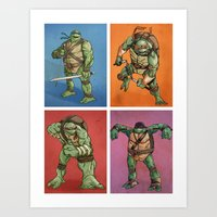 teenage mutant ninja turtles Art Prints featuring Teenage Mutant Ninja Turtles by Alex Santaló