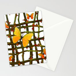 GOLDEN BUTTERFLIES THORN BRANCHES TRELLIS  PATTERN Stationery Cards