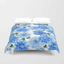 Blue Dahlia Floral Watercolor Art Duvet Cover
