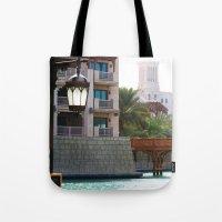 arab Tote Bags featuring Dubai - Outside Burj Al Arab by gdesai