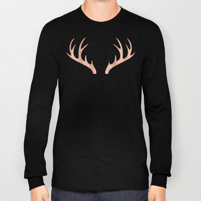 Antlers Rose Gold Deer Antlers Long Sleeve T-shirt