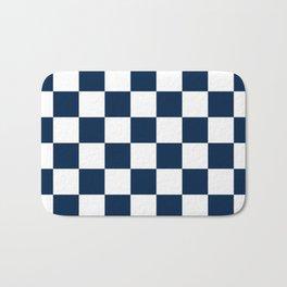 Checkered - White and Oxford Blue Bath Mat