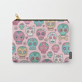 Sugar Skulls on Pink Carry-All Pouch