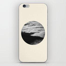 Intense Fog & Mountain Silhouette Black & White Round Photo iPhone Skin