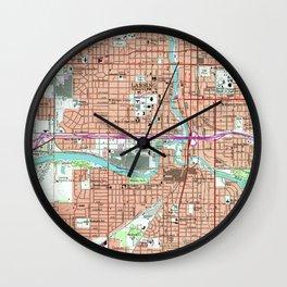 Vintage Map of Lansing Michigan (1965) Wall Clock