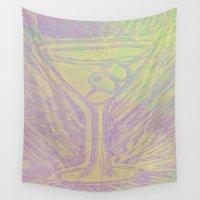 martini Wall Tapestries featuring purple martini by Kim Codner Designs