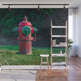 TCIW Fluted Fire Hydrant Red and Green Traverse City Iron Works Fireplug Wall Mural