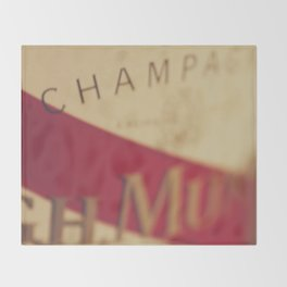 Champagne bottle, macro photography of old wine label on museum paper, still life, bar, home decor Throw Blanket