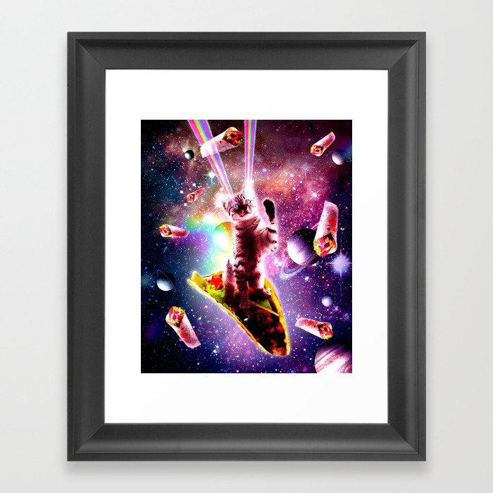 Outer Space Taco Cat - Rainbow Laser Eyes, Burrito Gerahmter Kunstdruck