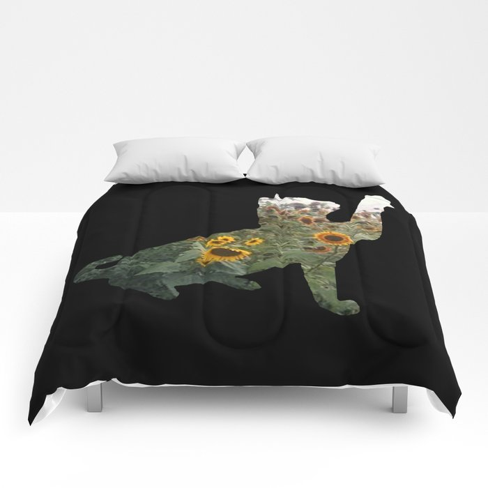 Cat Silhouetted in Sunflowers Comforters