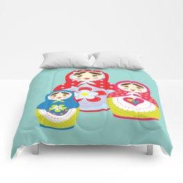 Turquoise babushka , matryoshka , russian doll , nursery decor , children gift, birthday gift Comforters