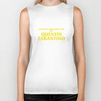 quentin tarantino Biker Tanks featuring Written And Directed By Quentin Tarantino by FunnyFaceArt