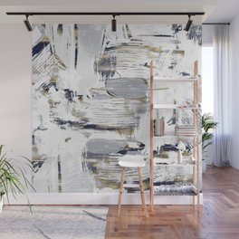 White Blue and Gold Brush Painting Wall Mural