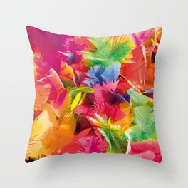 Fluo Feathers Throw Pillow